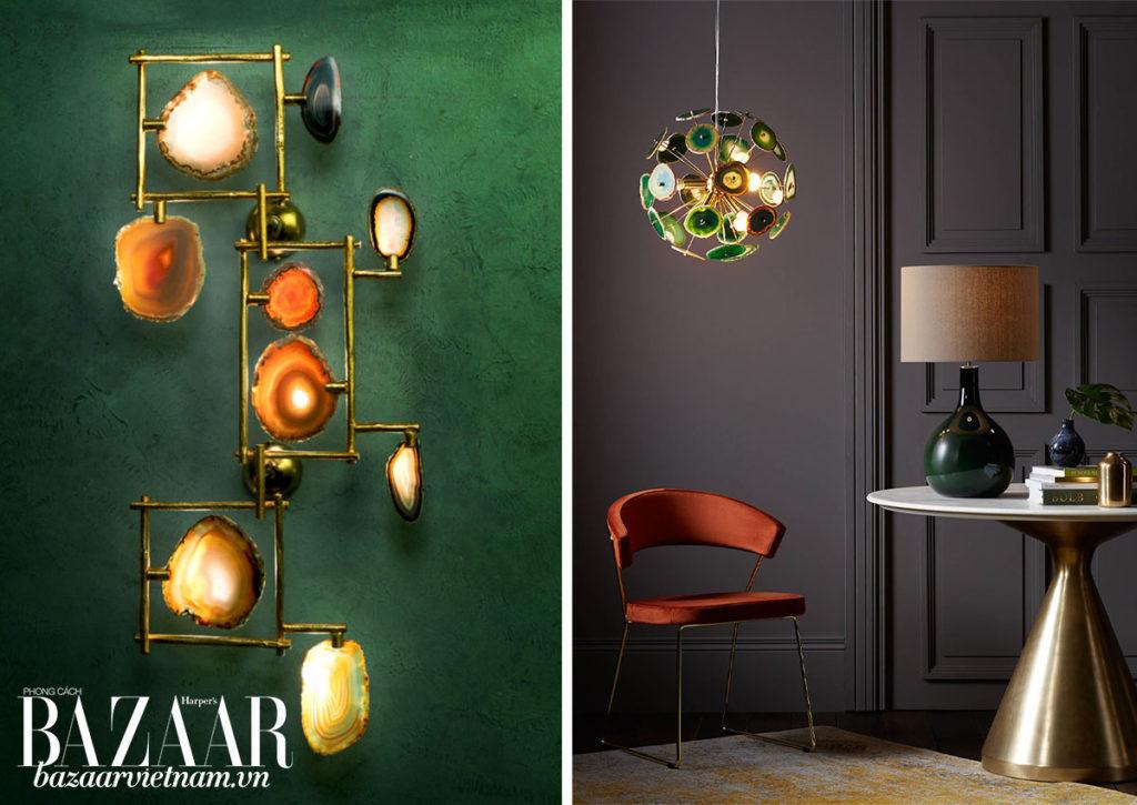 Trái: Đèn treo tường bằng đá agate của Ciani Atelier, Ý. Phải: Đèn trần bằng đá agate, John Lewis & Partners, Anh. Những chiếc đèn vừa nghệ thuật vừa thêm điểm sáng cho ngôi nhà.