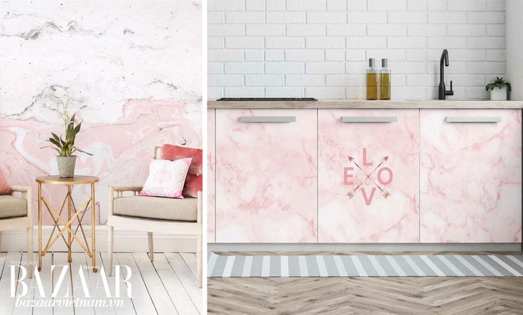 Bạn có thể dùng giấy dán tường để phối tường và tủ theo theo phong cách matchy matchy. Ví dụ, phòng khách tường hồng, nền gỗ hay đá trắng, đối lập với phòng bếp tường trắng và tủ hồng. Ảnh: DHGate, Pinterest.